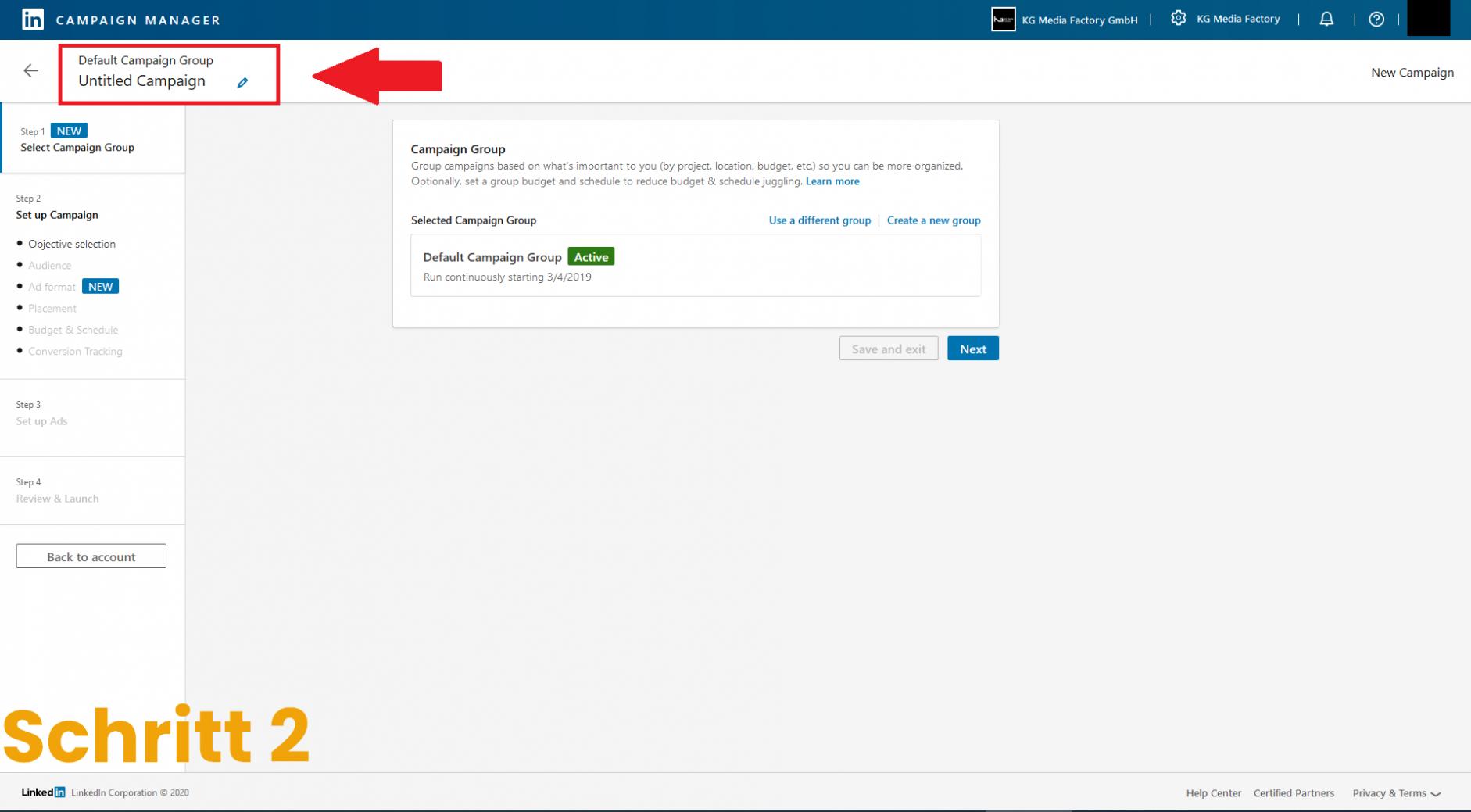 LinkedIn Kampagnenmanager Schritt 2